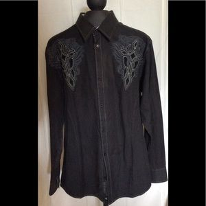 Roar men's embroidered shirt  black gray